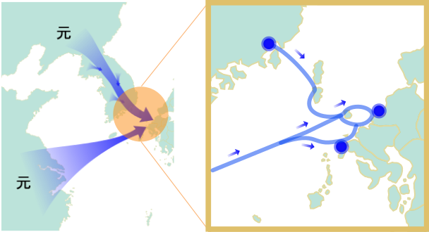 1281年弘安の役の地図(蒙古襲来のイラスト)