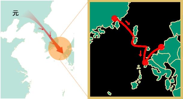 1274年文永の役の地図(蒙古襲来イラスト画像)