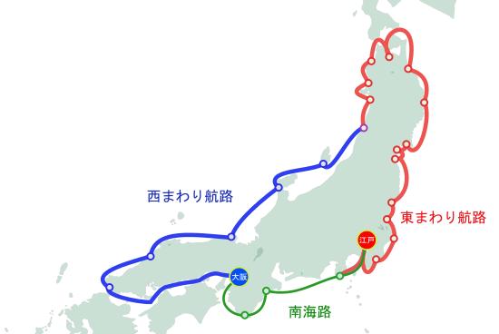 江戸時代の海上交通(東まわり・西まわり航路・南海路の輸送地図)イラスト図