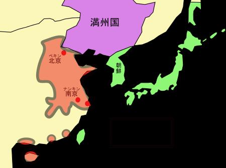 日中戦争の戦場となった地域の地図