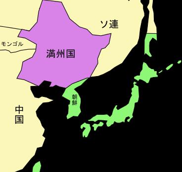 満州国の位置の地図